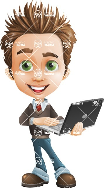 school boy vector cartoon character set of poses - Zack the Crafty - Laptop1