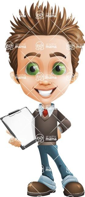 school boy vector cartoon character set of poses - Zack the Crafty - Notepad2