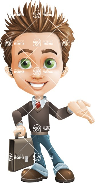 Cute Smart Boy Cartoon Vector Character AKA Zack the Crafty - Briefcase2