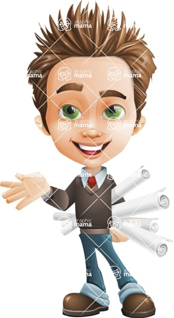 school boy vector cartoon character set of poses - Zack the Crafty - Plans