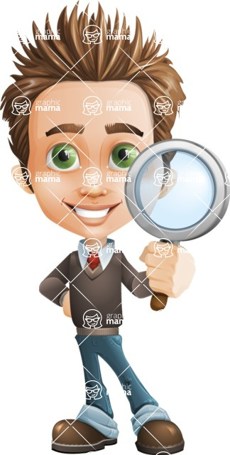 Cute Smart Boy Cartoon Vector Character AKA Zack the Crafty - Search