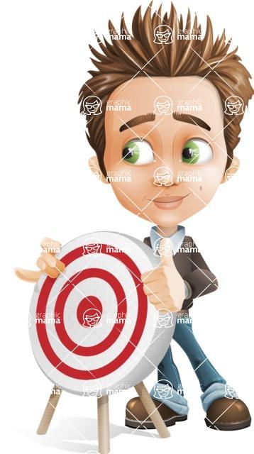 school boy vector cartoon character set of poses - Zack the Crafty - Target
