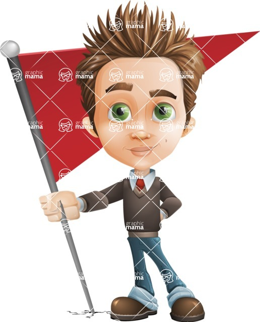 Cute Smart Boy Cartoon Vector Character AKA Zack the Crafty - Checkpoint