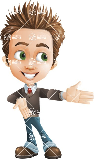 school boy vector cartoon character set of poses - Zack the Crafty - Show2