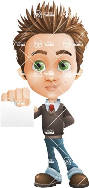 Cute Smart Boy Cartoon Vector Character / Sign1 | GraphicMama