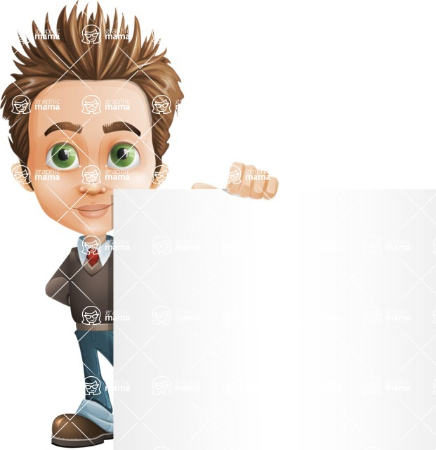 school boy vector cartoon character set of poses - Zack the Crafty - Sign7