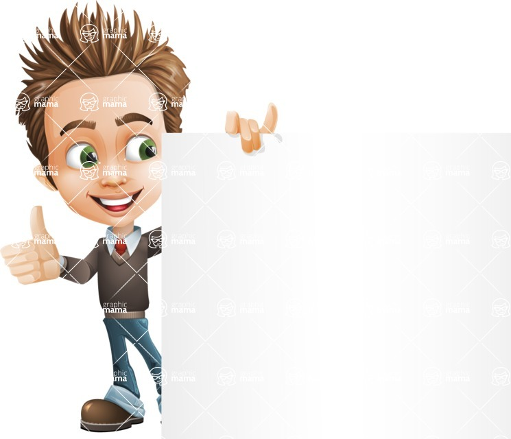 school boy vector cartoon character set of poses - Zack the Crafty - Sign8