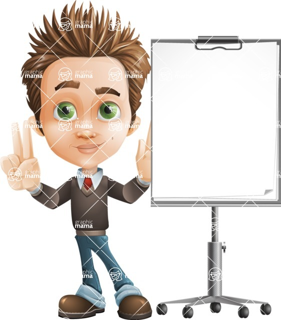 school boy vector cartoon character set of poses - Zack the Crafty - Presentation1