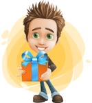 school boy vector cartoon character set of poses - Zack the Crafty - Shape9