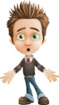 school boy vector cartoon character set of poses - Zack the Crafty - Stunned