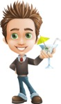 Cute Smart Boy Cartoon Vector Character AKA Zack the Crafty - Cocktail