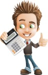 school boy vector cartoon character set of poses - Zack the Crafty - Calculator