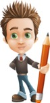 school boy vector cartoon character set of poses - Zack the Crafty - Pencil