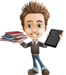 school boy vector cartoon character set of poses - Zack the Crafty - Book and iPad