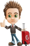 school boy vector cartoon character set of poses - Zack the Crafty - Travel1