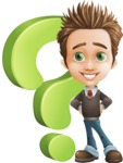 school boy vector cartoon character set of poses - Zack the Crafty - Question