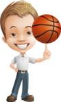 Cute Child Cartoon Vector Character AKA Georgie - Basketball