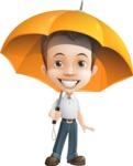 Cute Child Cartoon Vector Character AKA Georgie - Umbrella