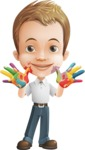 Cute Child Cartoon Vector Character AKA Georgie - Colored Hands