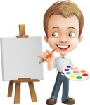Cute Child Cartoon Vector Character AKA Georgie - Painting