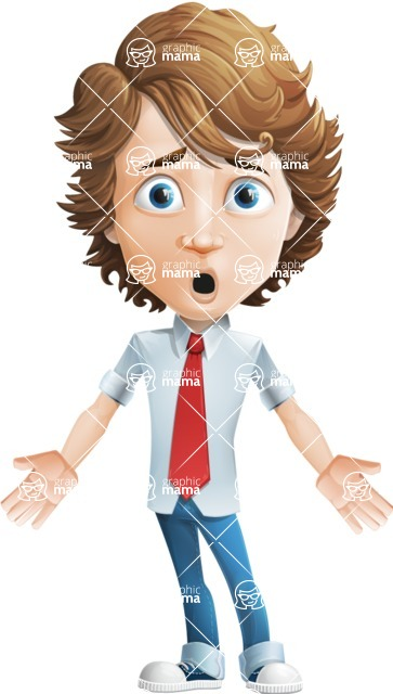 boy cartoon character vector pack - Mark - GraphicMama's bestseller - Shocked