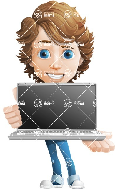 boy cartoon character vector pack - Mark - GraphicMama's bestseller - Laptop