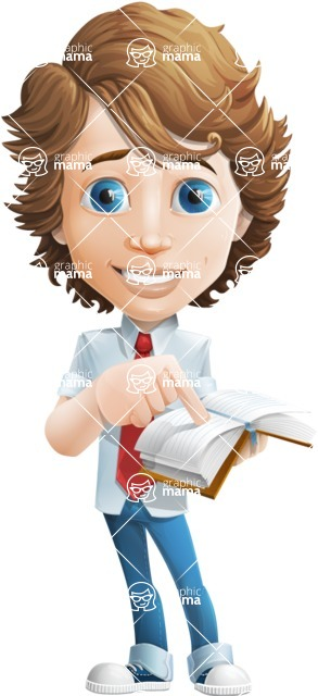 boy cartoon character vector pack - Mark - GraphicMama's bestseller - Book1