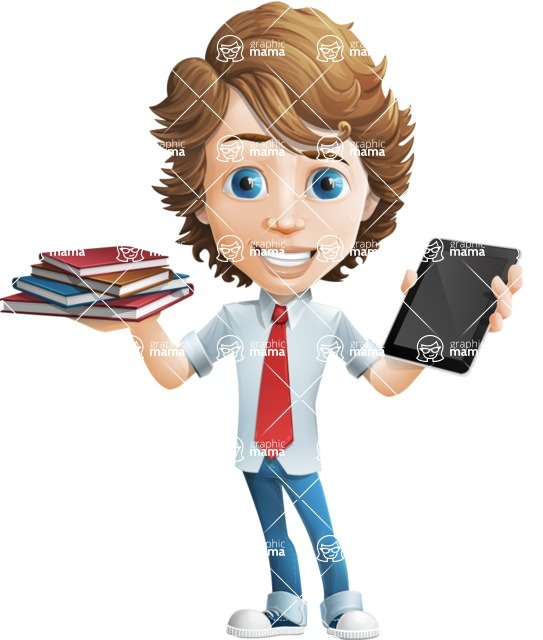 Vector Man Cartoon Character - Book and iPad