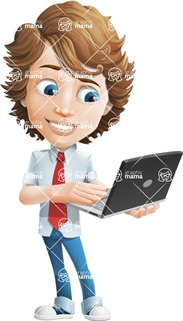 boy cartoon character vector pack - Mark - GraphicMama's bestseller - Laptop3
