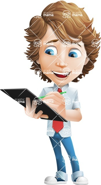 boy cartoon character vector pack - Mark - GraphicMama's bestseller - Notepad1