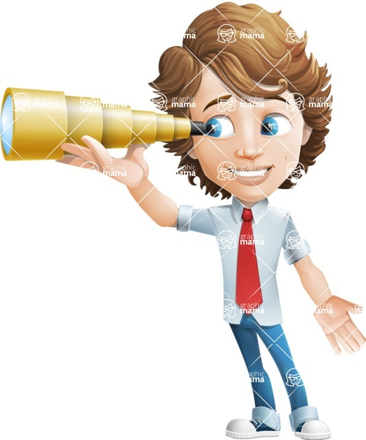 Vector Man Cartoon Character - Telescope