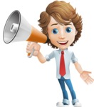 Vector Man Cartoon Character - Loudspeaker