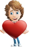 Vector Man Cartoon Character - Love