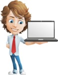 Vector Man Cartoon Character - Laptop2