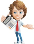 Vector Man Cartoon Character - Calculator