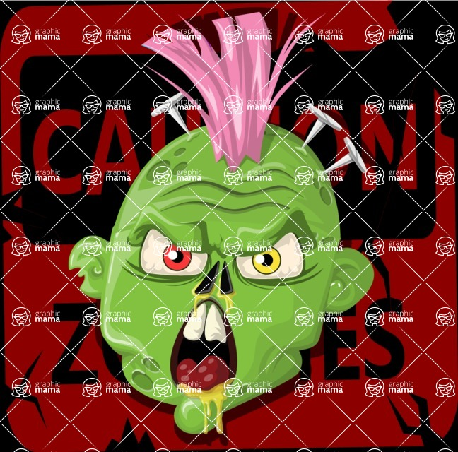 Zombie Vector Graphic Maker - Punk angry zombie
