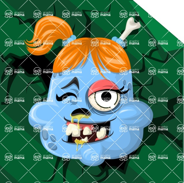 Zombie Vector Graphic Maker - Girly ginger zombie avatar