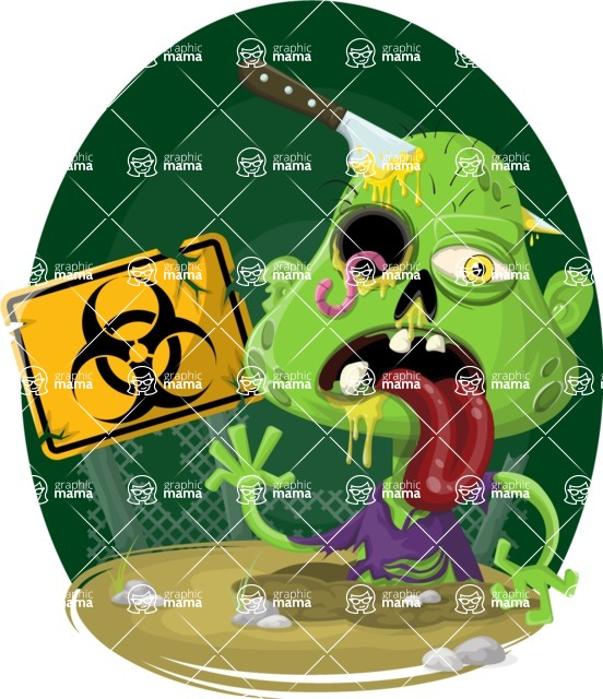 Zombie Vector Graphic Maker - Toxic zombie with knife