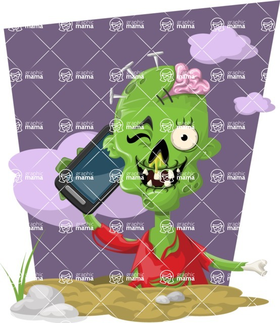 Zombie Vector Graphic Maker - Zombie talking on the phone