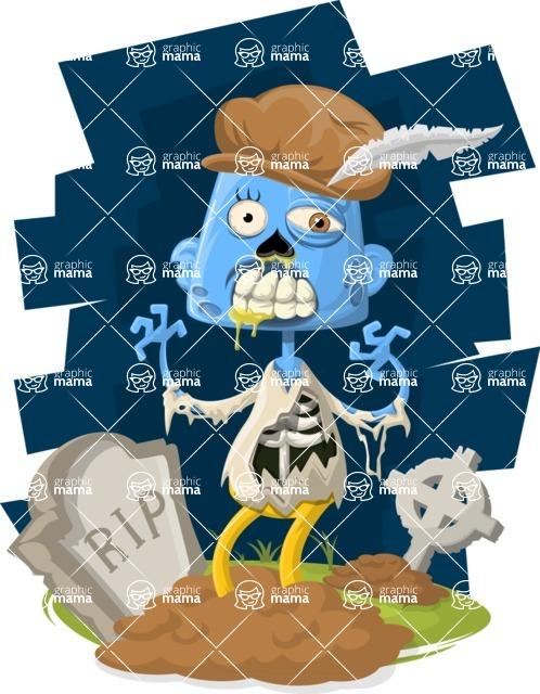 Zombie Vector Graphic Maker - Zombie poet with hat