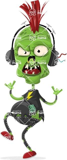 Zombie Vector Graphic Maker - Punk zombie with headphones