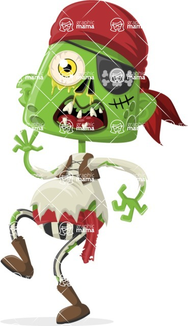 Zombie Vector Graphic Maker - Zombie pirate walking