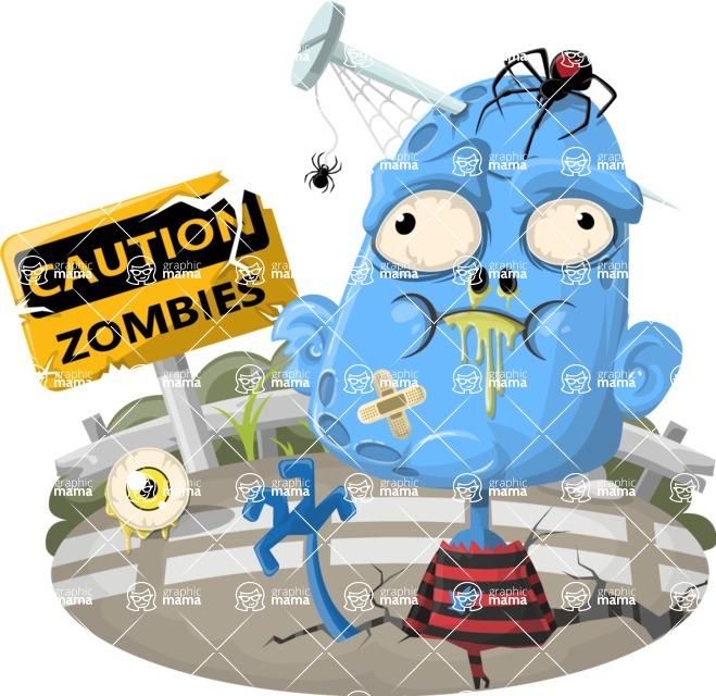 Zombie Vector Graphic Maker - Blue male zombie