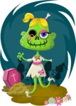 Zombie Vector Graphic Maker - Female zombie in a dress