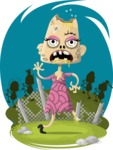 Zombie Vector Graphic Maker - Zombie lady in pink dress