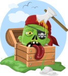 Zombie Vector Graphic Maker - Pirate zombie head