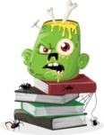 Me, the Zombie - Zombie head with books