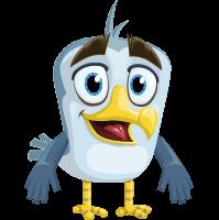 Seabird Cartoon Vector Character AKA Gulliver SeaBird