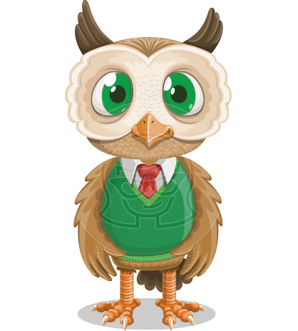 Owl Teacher Cartoon Vector Character AKA Professor CleverHoot