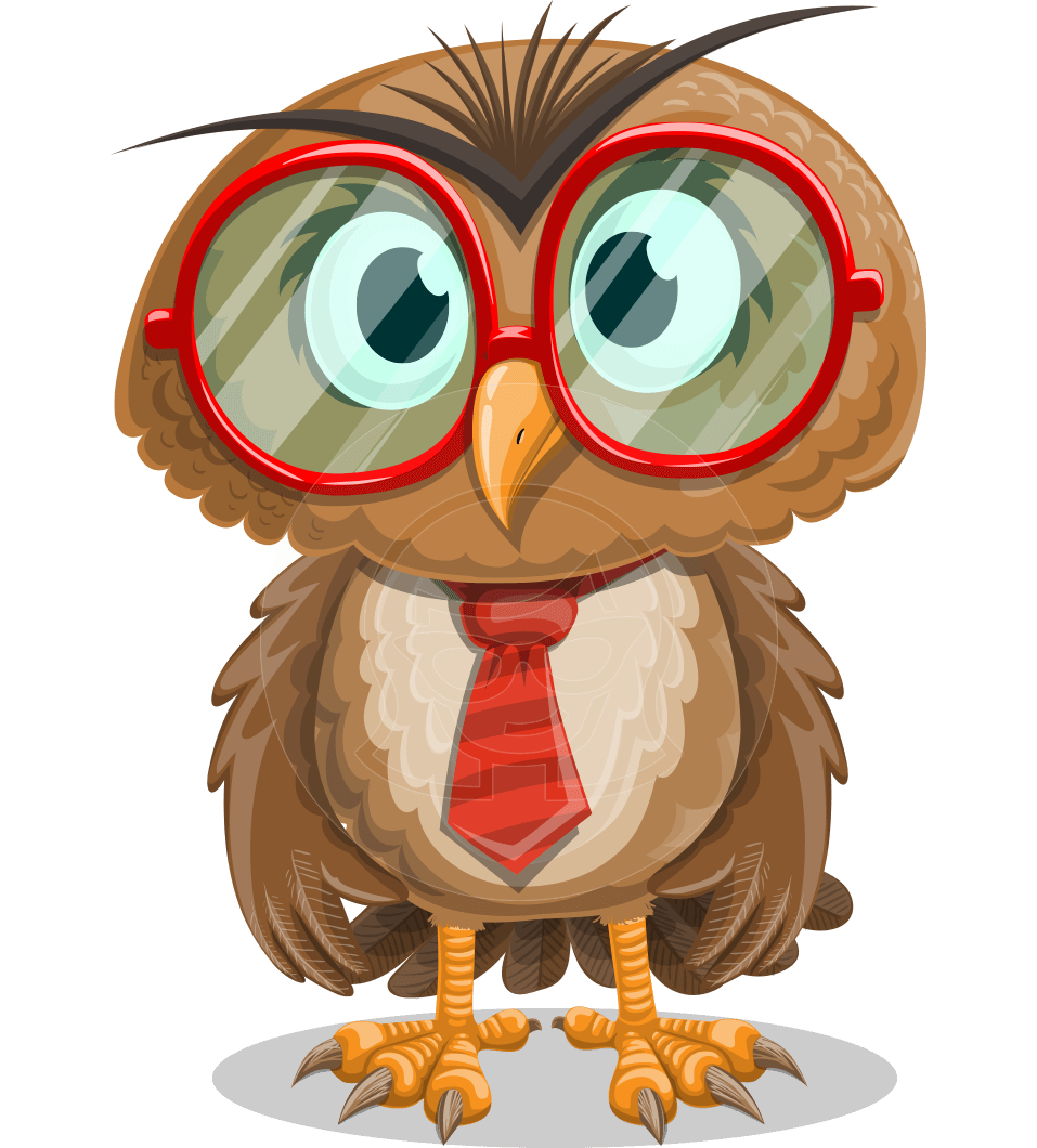 Owl with a Tie Cartoon Vector Character AKA Owlbert Witty
